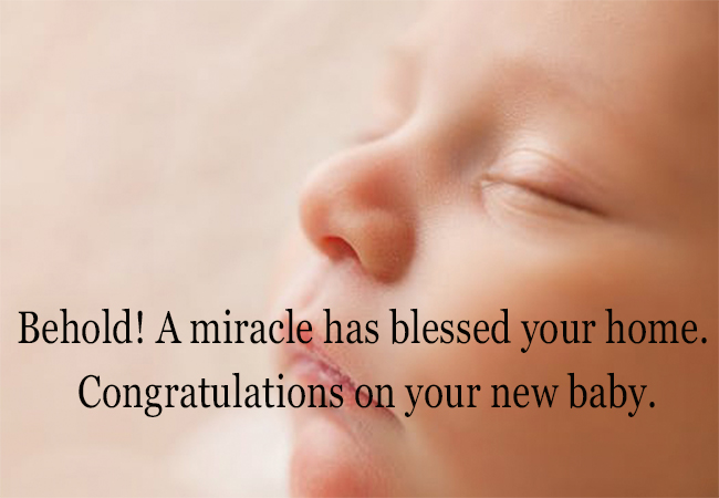 Congratulations on your new baby.